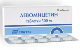 Левомицетин таблетки: инструкция по применению